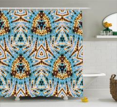 Batik Etkili Geometrik Desenli Duş Perdesi Şık Mavi
