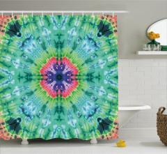 Batik Etkili Çiçek Desenli Duş Perdesi Yeşil Pembe
