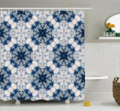 Geometrik Çiçek Desenli Duş Perdesi Lacivert Beyaz