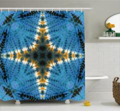 Baskı Etkili Yıldız Desenli Duş Perdesi Turkuaz Sarı