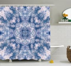 Lacivert Beyaz Yıldız Çiçek Desenli Duş Perdesi Şık