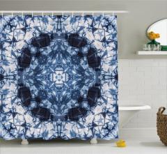 Lacivert Simetrik Desenli Duş Perdesi Şık Tasarım