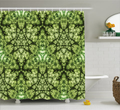 Yıldız Formlu Yeşil Desenli Duş Perdesi Dekoratif