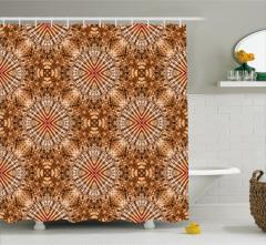 Kahverengi Geometrik Desenli Duş Perdesi Şık Dizayn