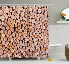 Kahverengi Kütük Temalı Duş Perdesi Kır Evi Etkili