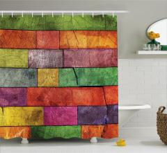 Rengarenk Ahşap Duvar Desenli Duş Perdesi Dekoratif