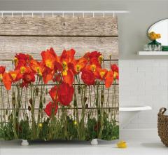 Gelincik Çiçeği ve Çit Desenli Duş Perdesi Çeyizlik