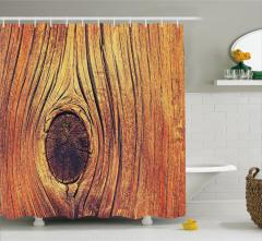 Şık Dekoratif Ahşap Temalı Duş Perdesi Kahverengi
