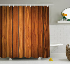 Şık Kahverengi Çit Temalı Duş Perdesi Ahşap Efektli