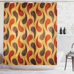 Stilize Damla Desenli Duş Perdesi Kahverengi Ahşap