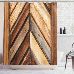 Diyagonal Ahşap Temalı Duş Perdesi Eskitme Efektli
