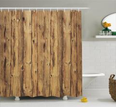 Dekoratif Doğal Ahşap Temalı Duş Perdesi Kahverengi