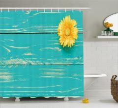 Eskitme Mavi Ahşap Temalı Duş Perdesi Sarı Çiçekli