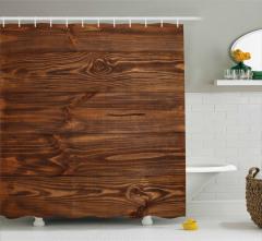 Kahverengi Ahşap Temalı Duş Perdesi Şık Dekoratif