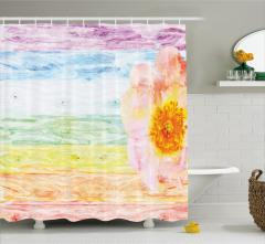 Rengarenk Ahşap Desenli Duş Perdesi Sarı Çiçekli
