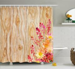 Mor Sarı Çiçek Desenli Duş Perdesi Ahşap Arka Planlı