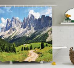 Dağ Manzaralı Duş Perdesi Doğada Huzur Temalı Yeşil