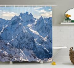 Karlı Dağ Manzaralı Duş Perdesi Kış Gökyüzü Beyaz