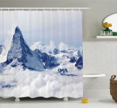 Karlı Dağ Manzaralı Duş Perdesi Kar Gökyüzü Bulut