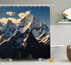 Karlı Dağ Manzaralı Duş Perdesi Doğa Ağaç Gökyüzü