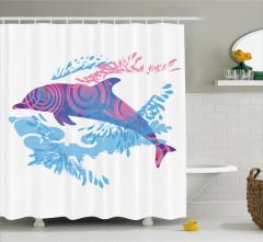 Yunus Desenli Duş Perdesi Modern Sanat Pembe Mavi