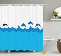 Duş Perdesi Denizde Yüzen Yunuslar Mavi Beyaz