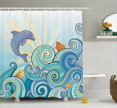 Çocuklar için Duş Perdesi Yunus ve Balıklar Mavi