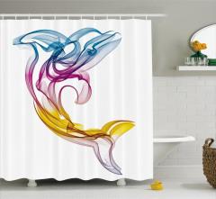 Duş Perdesi Rengarenk Yunus Figürü Modern Sanat