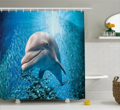 Okyanus Hayatı Temalı Duş Perdesi Yunus ve Balıklar