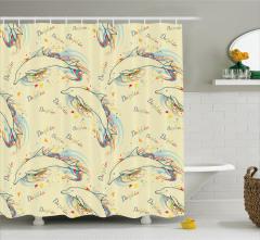 Bej Duş Perdesi Yunus Desenleri Rengarenk Kelebekler