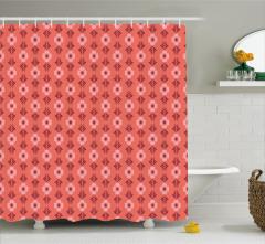 Mercan Rengi Duş Perdesi Çiçek Desenli Çeyizlik