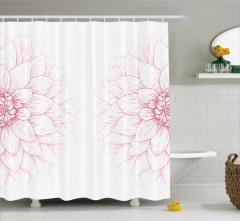 Pembe Beyaz Duş Perdesi Çiçekli Şık Tasarım Trend