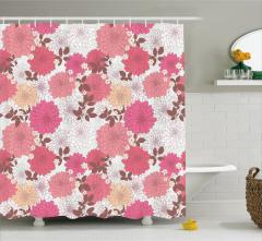 Bahar Temalı Duş Perdesi Pembe Çiçekli Şık Tasarım