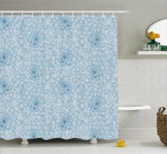 Mavi Beyaz Duş Perdesi Çiçekli Çeyizlik Şık Tasarım