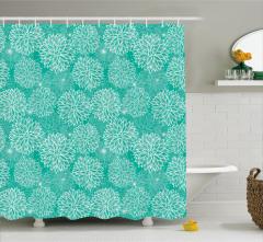 Yeşil Duş Perdesi Çiçekli Çeyizlik Şık Tasarım