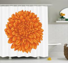Turuncu Duş Perdesi Krizantem Çiçeği Şık Tasarım