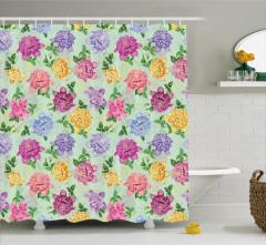 Nostaljik Duş Perdesi Çiçek Desenli Pembe Mor Sarı