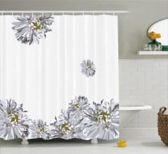 Beyaz Duş Perdesi Bahar Temalı Çiçekli Şık Tasarım