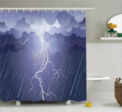 Yağmur Temalı Duş Perdesi Fırtına Gri Bulutlar