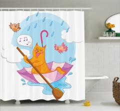 Çocuklar için Duş Perdesi Sevimli Kedi ve Kuşlar