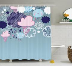 Çocuklar için Duş Perdesi Rengarenk Bulutlar Yağmur
