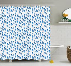 Yağmur Temalı Duş Perdesi Mavi Damlalar Beyaz