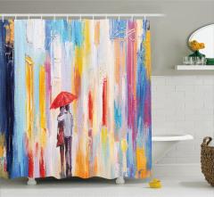 Yağlı Boya Resmi Etkili Duş Perdesi Romantik Yağmur