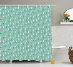 Yeşil Duş Perdesi Rengarenk Damlalar Şık Tasarım