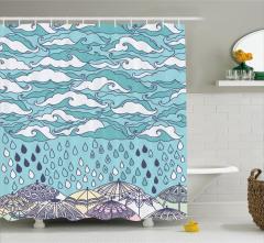 Yağmur Temalı Duş Perdesi Mavi Bulutlar Şık Tasarım