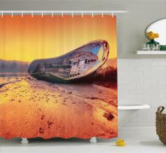 Gemi Desenli Duş Perdesi Turuncu Gökyüzü Deniz Plaj