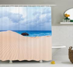 Eski Gemi Temalı Duş Perdesi Kumsal Deniz Mavi Krem