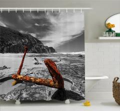 Antik Çapa Temalı Duş Perdesi Gri Nostaljik Deniz