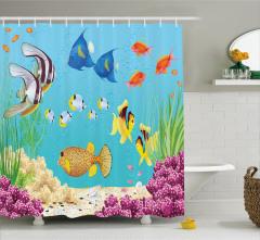 Su Altı Temalı Duş Perdesi Rengarenk Balık Desenli
