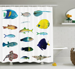 Rengarenk Balık Desenli Duş Perdesi Şık Sarı Beyaz